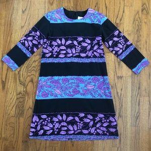 AKA New York Blue Purple Black Floral Silk Dress
